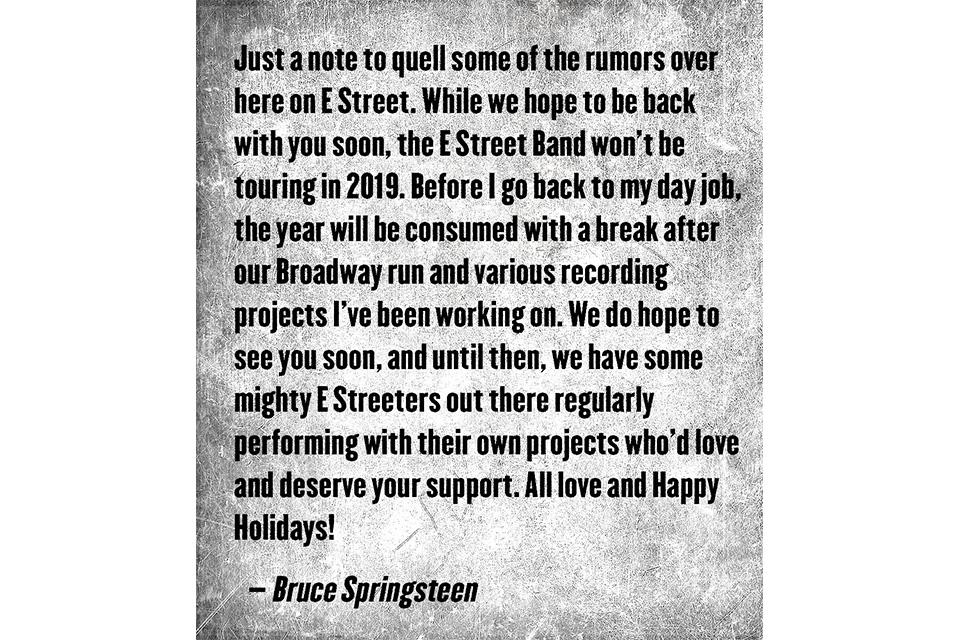 ブルース・スプリングスティーンが2019年のツアー計画を却下