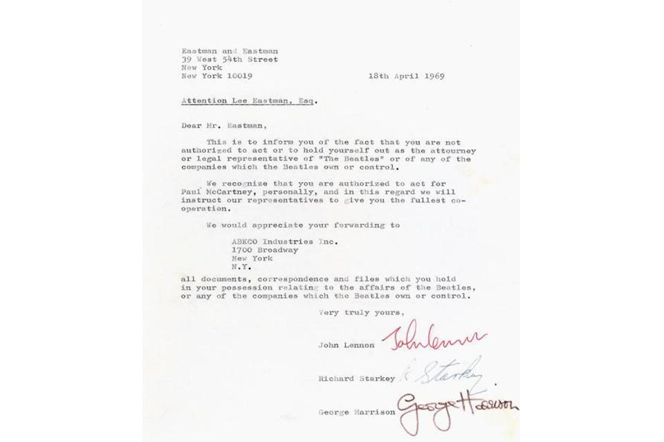 ビートルズ解散の前兆になった手紙2通がオークションに