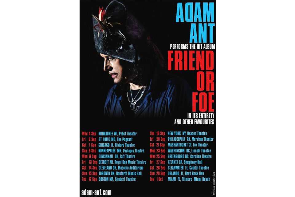 アダム・アントが北米ツアー〈Friend or Foe〉を発表