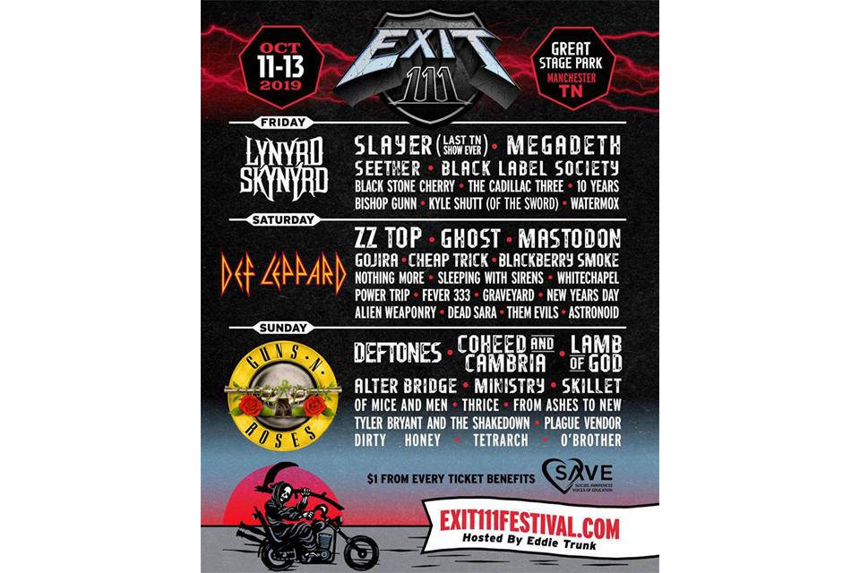 新たな大規模ロック・フェスティバル〈EXIT 111〉が、米テネシー州で10月開催