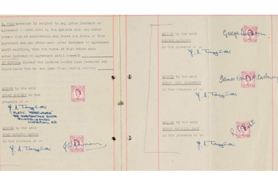 ビートルズがブライアン・エプスタインと交わした初の契約書が34万3,000ドルで落札