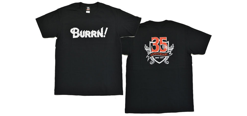 BURRN!創刊35周年記念、スペシャル企画第二弾!!  BURRN! 35TH ANNIVERSARY Tシャツ・ビアグラス発売!