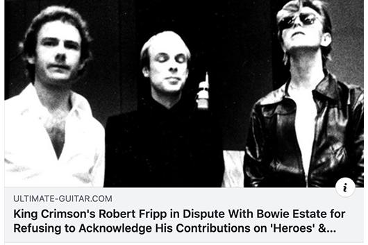 ロバート・フリップがアルバムへの貢献を巡り、デヴィッド・ボウイの遺産管理団体に抗議