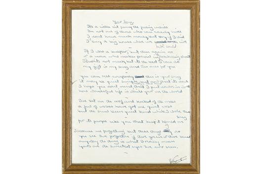 エルトン・ジョンの「Your Song」、歌詞の原稿が237,000ドルで落札