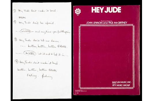 ポール・マッカトニーが手書きした「ヘイ・ジュード」の歌詞、9,830万円で落札