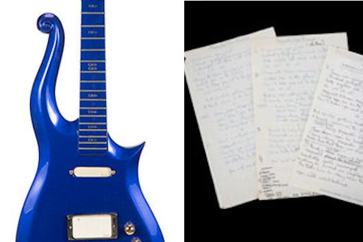 プリンスのギターやポール・マッカートニー手書きの歌詞がオークションに