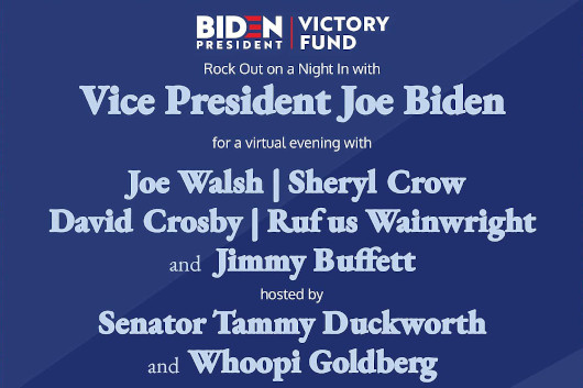 米・民主党大統領候補ジョー・バイデンのヴァーチャル支援コンサートにジョー・ウォルシュやシェリル・クロウが出演