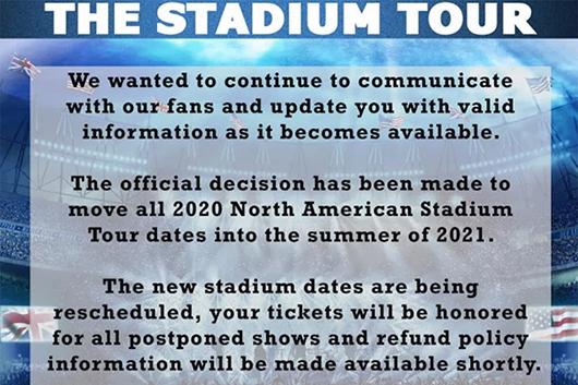 モトリー・クルー+デフ・レパード+ポイズン+ジョーン・ジェットの北米スタジアム・ツアーが来年に延期