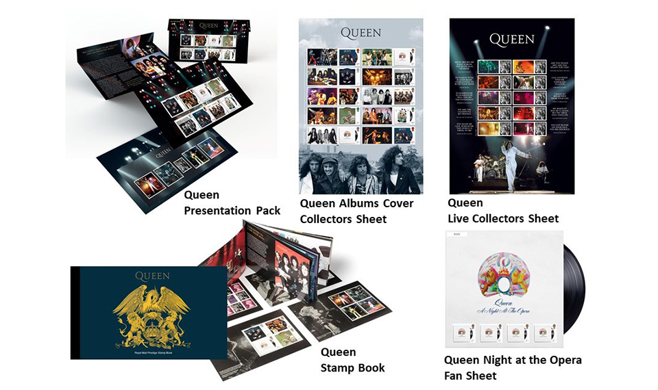 大人気! クイーンのアルバム、ライヴ・ショットなどがデザインされた公式切手の一般発売を開始! 5アイテムが揃うウルトラパックも発売、購入特典付!