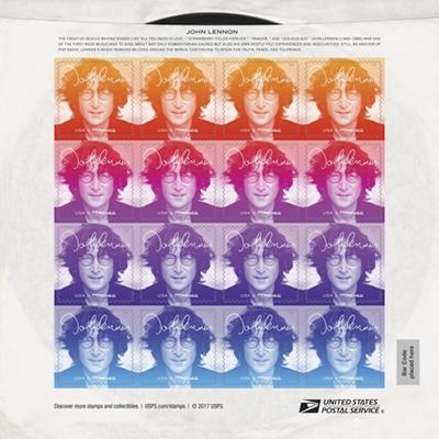 ジョン・レノンの切手シートが9月7日に発売