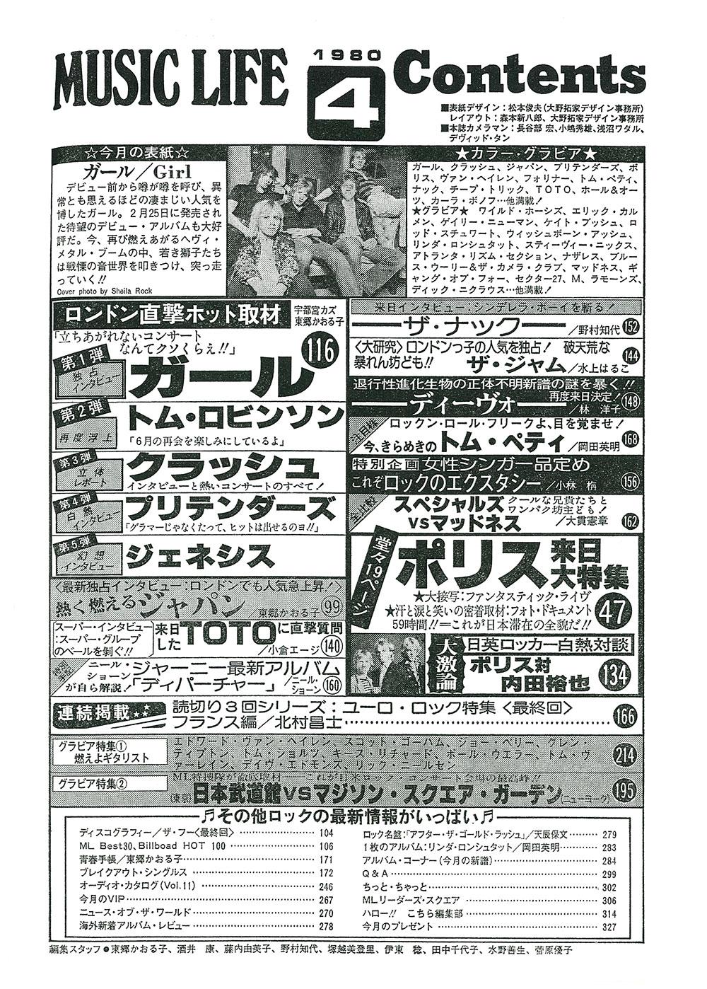 MUSIC LIFE 1980年4月号目次